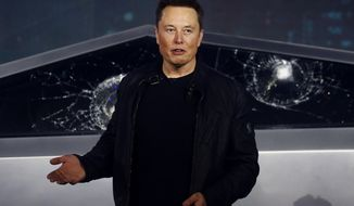 FILE - In this Nov. 21, 2019, file photo, Tesla CEO Elon Musk introduces the Cybertruck at Tesla's design studio in Hawthorne, Calif. Tesla CEO Elon Musk appears to have hit all the milestones necessary to receive a stock award currently worth about $730 million to pad the eccentric billionaire's already vast fortune. The electric car maker ended Wednesday, May 6, 2020, with an average market value of $100.4 billion for the past six months, according to data drawn from FactSet Research. (AP Photo/Ringo H.W. Chiu, File)