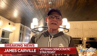 Political strategist James Carville discusses the 2020 U.S. presidential election and the Trump administration, May 6, 2020. (Image: MSNBC video screenshot)