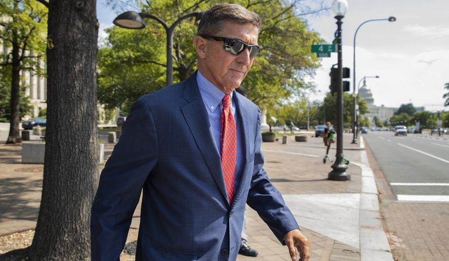 In this Sept. 10, 2019, file photo, Michael Flynn, President Donald Trump's former national security adviser, leaves the federal court following a status conference in Washington. (AP Photo/Manuel Balce Ceneta) ** FILE **