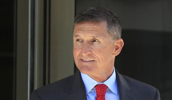 In this July 10, 2018, file photo, former Trump National Security Adviser Michael Flynn leaves the federal courthouse in Washington, following a status hearing. (AP Photo/Manuel Balce Ceneta, File)