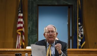 Chairman Sen. Lamar Alexander, R-Tenn., speaks during a Senate Health Education Labor and Pensions Committee hearing on new coronavirus tests on Capitol Hill in Washington, Thursday, May 7, 2020. (Anna Moneymaker/The New York Times via AP, Pool)