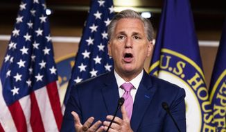 House Minority Leader Kevin McCarthy of Calif. speaks during a news conference on Capitol Hill, Thursday, May 7, 2020, in Washington. (AP Photo/Manuel Balce Ceneta)  **FILE**