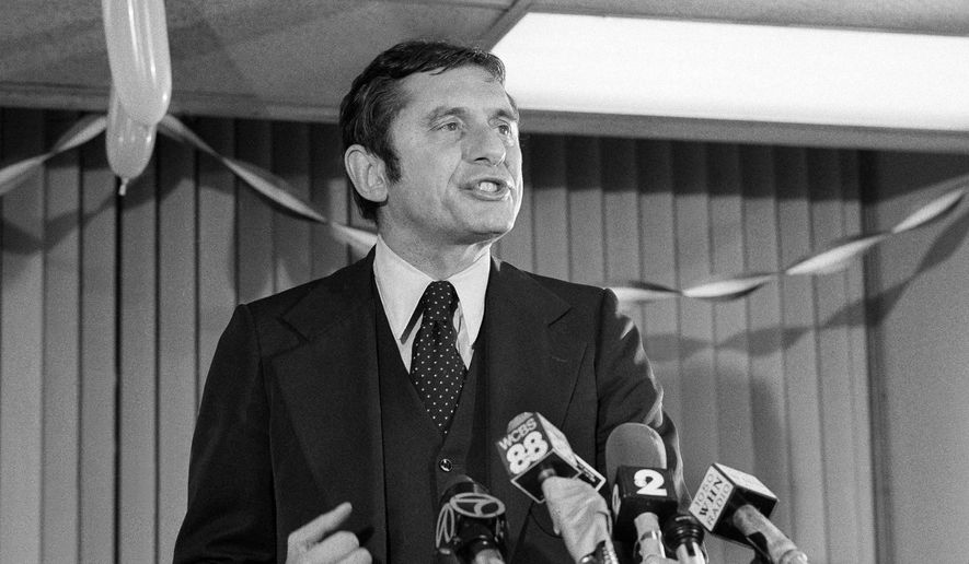 This Nov. 8, 1977, file photo shows conservative Barry Farber, who was far behind in the New York City Mayoral race, thanks supporters at his headquarters, in New York.  Farber died of natural causes Wednesday, May 6, 2020,  at home in New York, a day after his 90th birthday, his daughter, Celia Farber, said. (AP Photo/Dan Grossi, File) ** FILE **