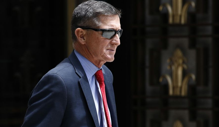 In this Monday, June 24, 2019, photo, Michael Flynn, President Donald Trump's former national security adviser, departs a federal courthouse after a hearing in Washington. (AP Photo/Patrick Semansky) ** FILE **