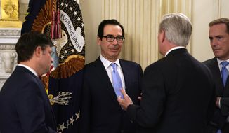 Treasury Secretary Steven Mnuchin, second from left, talks with House Minority Leader Kevin McCarthy of Calif., second from right, prior to a meeting between President Donald Trump and Republican lawmakers in the State Dining Room of the White House, Friday, May 8, 2020, in Washington. (AP Photo/Evan Vucci)