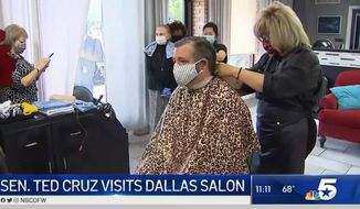 Sen. Ted Cruz got a haircut Friday at the Dallas salon owned by Shelley Luther, who was jailed this week for reopening her business during the statewide shutdown over COVID-19. (screengrab via CBS DFW)