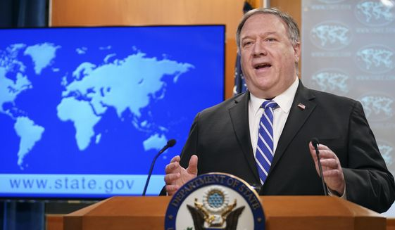 Secretary of State Mike Pompeo speaks about the coronavirus during a news conference at the State Department in Washington on Wednesday, May 6, 2020. (Kevin Lamarque/Pool Photo via AP) ** FILE **