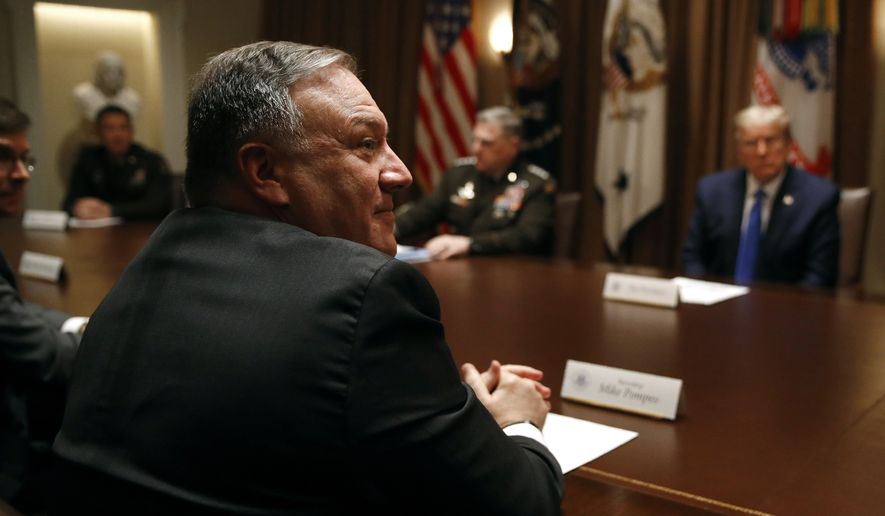 Secretary of State Mike Pompeo attends a meeting with President Donald Trump, senior military leaders and members of Trump's national security team in the Cabinet Room of the White House, Saturday, May 9, 2020, in Washington. (AP Photo/Patrick Semansky)