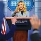 White House press secretary Kayleigh McEnany held her third White House press briefing Friday,  which CNN and MSNBC would not cover. (Associated Press)