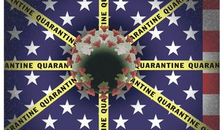 Illustration on the pandemic's threats to U. S. Federalism by Alexander Hunter/The Washington Times