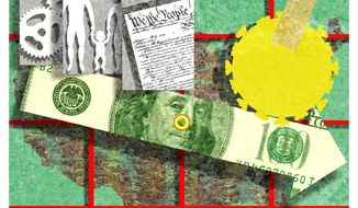 Illustration on factors affecting U.S. economic growth by Alexander Hunter/The Washington Times