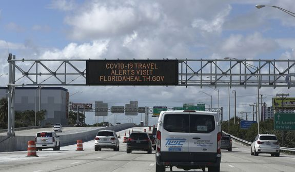 Cars travel along the Dolphin Expressway, Monday, May 11, 2020, in downtown Miami. Americans are slowly getting back on the road after hunkering down amid the cornonavirus pandemic, though driving still is well below what it was before many states issued stay-at-home orders. (AP Photo/Wilfredo Lee)