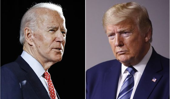 Former Vice President Joe Biden speaks in Wilmington, Del., on March 12, 2020 (left) and President Donald Trump speaks at the White House in Washington on April 5, 2020. (AP Photo, File)