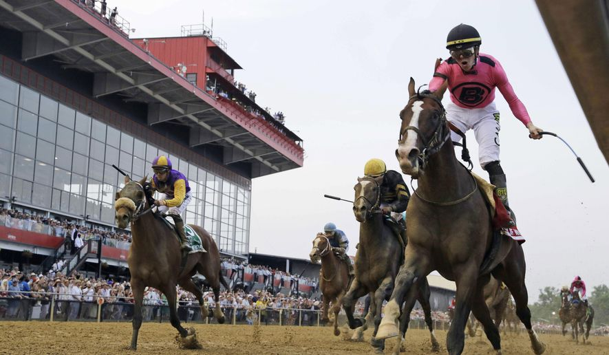 FILE - In this May 18, 2019, file photo, jockey Tyler Gaffalione, right, reacts aboard War of Will as they cross the finish line to win the Preakness Stakes horse race at Pimlico Race Course in Baltimore. The Preakness Stakes, the second leg of horse racing's Triple Crown would have been this week if not for the  coronavirus pandemic. There is still no new date for the race. (AP Photo/Steve Helber, File)