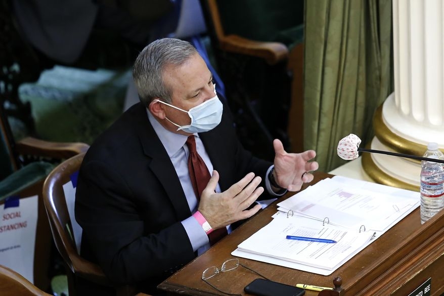 Mark Ghilarducci, director of the governor's Office of Emergency Services, discusses the state's purchase of protective equipment to battle the coronavirus, during an oversight hearing in Sacramento, Calif., Monday, May 11, 2020. Members of the Assembly Accountability & Administrative Review Committee were looking into the state's rush to purchase items like masks and what changes should be made to the procurement process after several deals went bad. (AP Photo/Rich Pedroncelli)