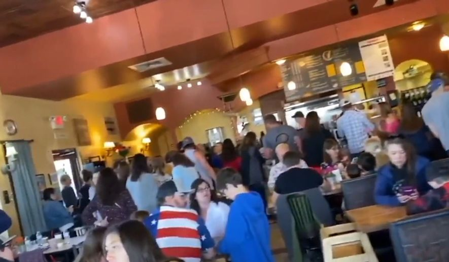 Colorado Gov. Jared Polis shut down a Castle Rock restaurant for at least 30 days after it defied state orders and reopened its doors to a massive Mother's Day crowd on Sunday. (screengrab via CBS Denver)