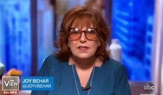"""The View's"" Joy Behar said Tuesday, May 12, 2020, that President Trump is a ""disgusting racist"" and that his supporters need to ask themselves ""if they are racist also."" (screengrab via ABC)"