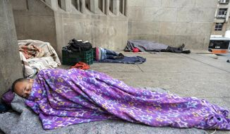 Homeless people sleep outside the Cathedral amid the spread of the new coronavirus in Sao Paulo, Brazil, Thursday, May 7, 2020. According to the Sao Paulo municipal office of social assistance and welfare, at least 22 homeless people have died of COVID-19 in the past few weeks. (AP Photo/Andre Penner)