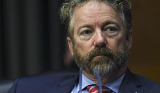 Sen. Rand Paul, R-Ky., listens during a virtual Senate Committee for Health, Education, Labor, and Pensions hearing, Tuesday, May 12, 2020 on Capitol Hill in Washington.  (Toni L. Sandys/The Washington Post via AP, Pool)