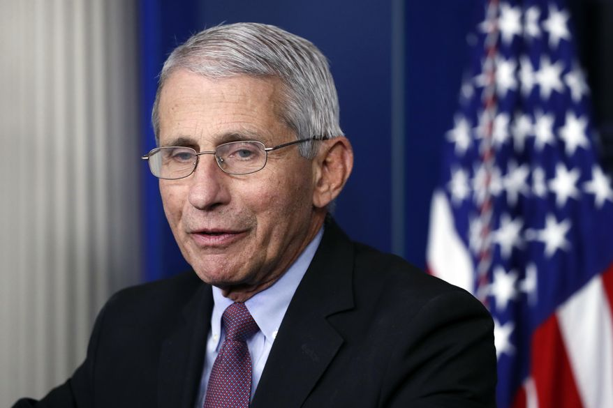 In this April 22, 2020, file photo, Dr. Anthony Fauci, director of the National Institute of Allergy and Infectious Diseases, speaks about the new coronavirus in the James Brady Press Briefing Room of the White House, in Washington. (AP Photo/Alex Brandon) ** FILE **