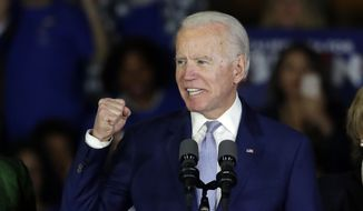 In this March 3, 2020, file photo, Democratic presidential candidate former Vice President Joe Biden speaks at a primary election night campaign rally in Los Angeles.  (AP Photo/Chris Carlson, File)  **fiLE**