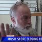 Steve Walker, owner of the Walker Music and Textile Company in Hastings, is closing up his store because of Michigan's coronavirus lockdown restrictions. (Screen grab from FOX 17 video)