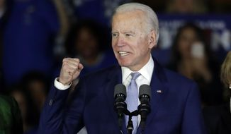 In this March 3, 2020, file photo, Democratic presidential candidate former Vice President Joe Biden speaks at a primary election night campaign rally in Los Angeles. (AP Photo/Chris Carlson, File)