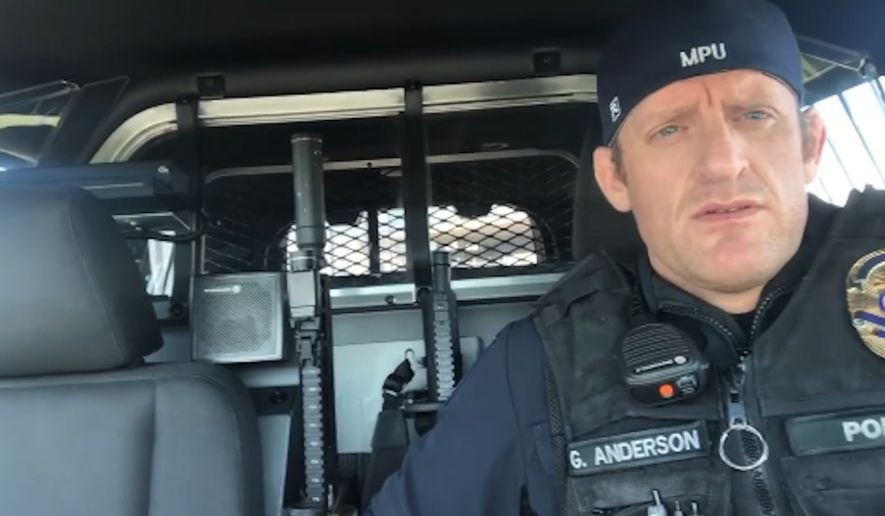 "Port of Seattle Police Officer Greg Anderson was placed on paid administrative leave this week after a video he posted on social media slamming the state's ""tyrannical"" lockdown orders went viral. (screengrab via @granderson33)"