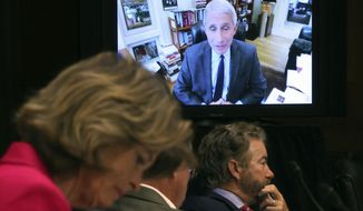 Senators listen as Dr. Anthony Fauci, director of the National Institute of Allergy and Infectious Diseases, speaks remotely during a virtual Senate Committee for Health, Education, Labor, and Pensions hearing, Tuesday, May 12, 2020 on Capitol Hill in Washington. Seated from left are Sen. Lisa Murkowski, R-Alaska, Sen. Mike Braun, R-Ind., center, and Sen. Rand Paul, R-Ky. (Win McNamee/Pool via AP)