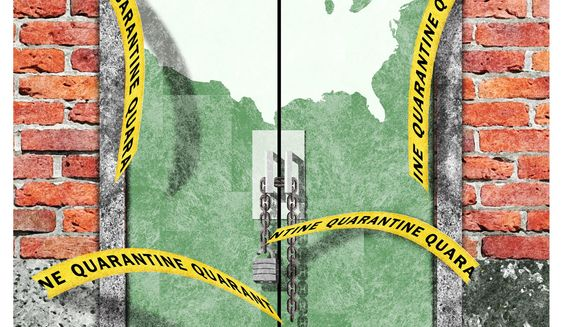 Illustration on reopening America by Alexander Hunter/The Washington Times