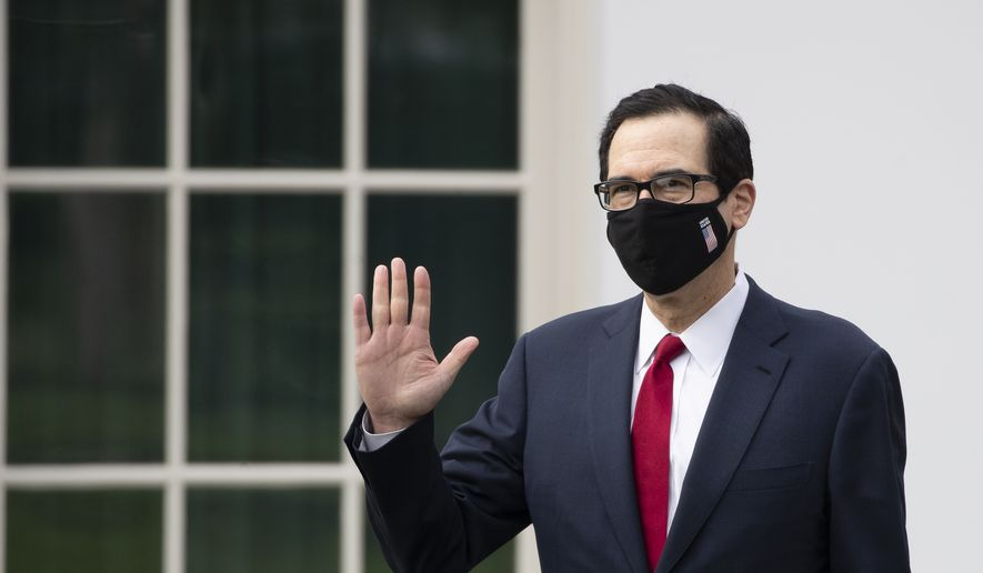 Treasury Secretary Steven Mnuchin wears a mask as he walks on the grounds of the White House, Thursday, May 14, 2020, in Washington. (AP Photo/Alex Brandon)