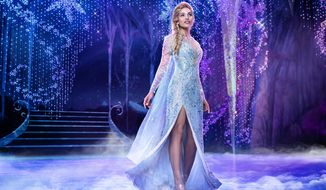 """This image released by Disney Theatricals shows Ciara Renee as Elsa in the musical """"Frozen."""" The big budget musical will not reopen when Broadway theaters restart, marking the first time an established show has been felled by the coronavirus pandemic. The Disney show opened in March 2018 and placed among the top five Broadway productions for both gross and attendance over both years it ran, often pulling in over $1 million. (Mary Ellen Matthews/Disney Theatricals via AP)"""