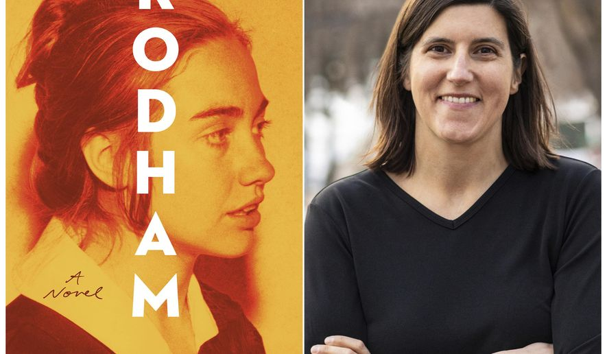"This combination of photos shows the cover art for ""Rodham,"" a novel by Curtis Sittenfeld, left, and a portrait of Sittenfeld. (Random House via AP, left, and Josephine Sittenfeld/Random House via AP)"
