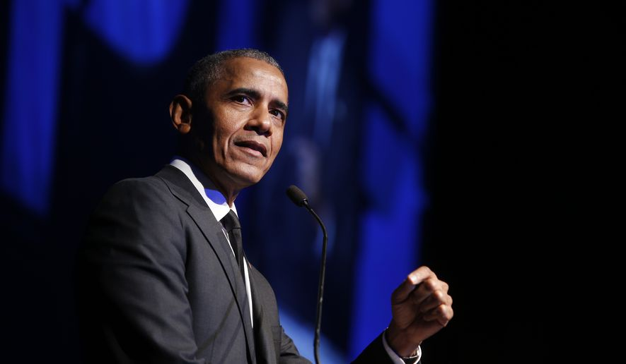 In this Dec. 12, 2018, file photo former President Barack Obama accepts the Robert F. Kennedy Human Rights Ripple of Hope Award at a ceremony in New York. On Saturday, May 16, 2020, Obama plans to speak during Show Me Your Walk, HBCU Edition, a two-hour livestreaming event for historically black colleges and universities broadcast on YouTube, Facebook and Twitter. (AP Photo/Jason DeCrow, File) **FILE**