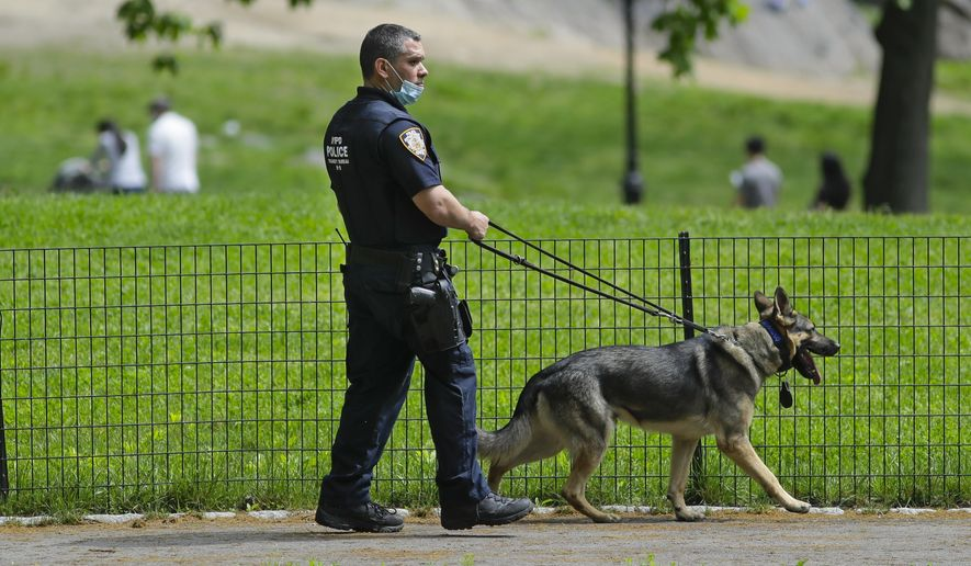 A New York Police Officer patrols Central Park during the coronavirus pandemic Saturday, May 16, 2020, in New York. (AP Photo/Frank Franklin II) **FILE**