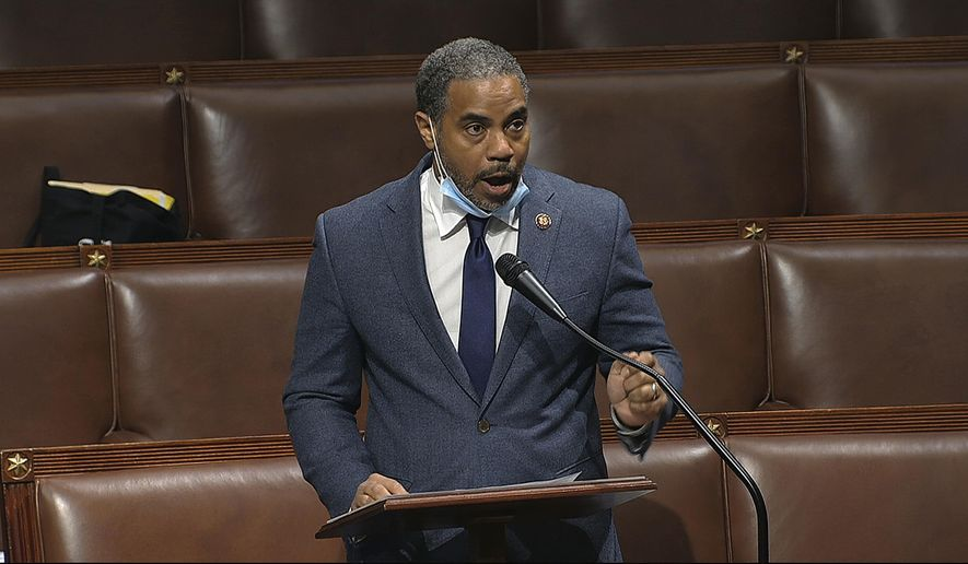 In this Thursday, April 23, 2020, file image taken from video, Rep. Steven Horsford, D-Nev., speaks on the floor of the House of Representatives at the U.S. Capitol in Washington. Horsford, on Saturday, May 16, acknowledged he had an extramarital affair with a woman who said the on-and-off relationship began in 2009 before ending last September. A spokeswoman for Horsford indicated he does not plan to resign, as at least one Republican opponent suggested. (House Television via AP, File)
