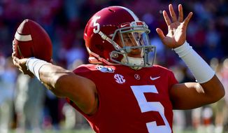 Quarterback Taulia Tagovailoa transferred to Maryland last week two seasons after his older brother Tua played for Mike Locksley at Alabama. (ASSOCIATED PRESS)
