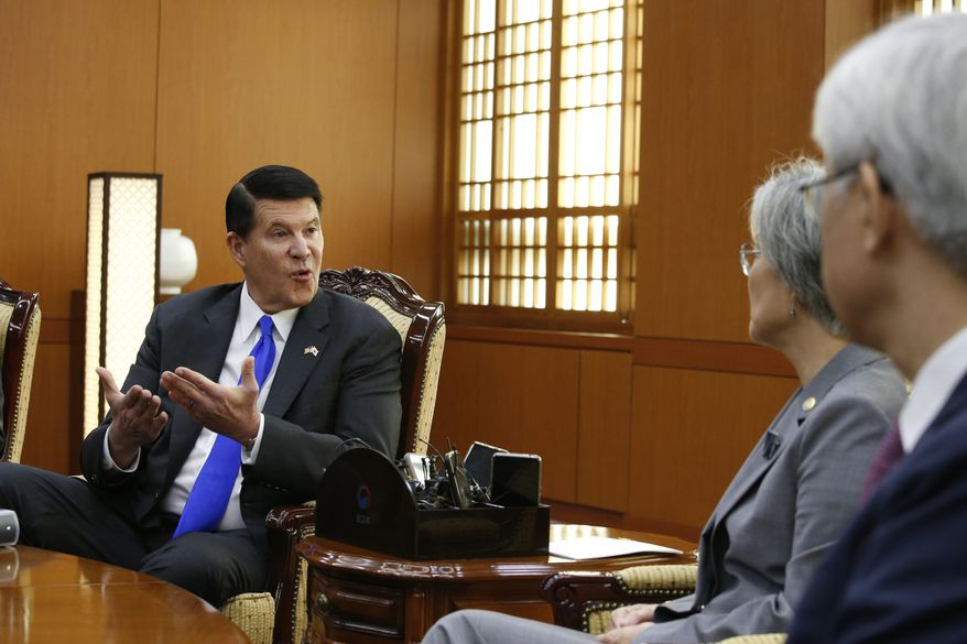 Keith Krach, left, U.S. under secretary of State for Economic Growth, Energy and the Environment, talks with South Korea's Foreign Minister Kang Kyung-wha, second from right, during their meeting at the Foreign Ministry in Seoul, South Korea, Wednesday, Nov. 6, 2019. (Heo Ran/Pool Photo via AP) **FILE**