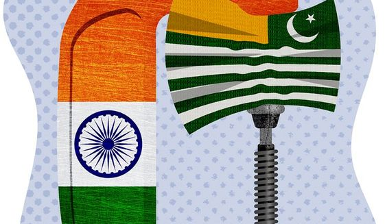 Kashmir Squeeze Illustration by Greg Groesch/The Washington Times