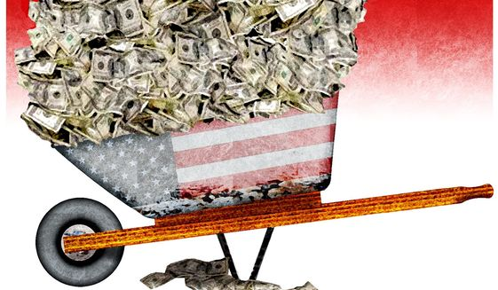 Illustration on inflation by Alexander Hunter/The Washington Times