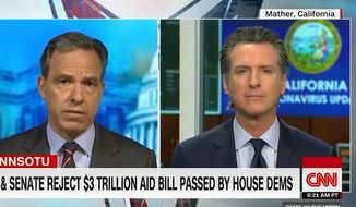 """California Gov. Gavin Newsom discusses the coronavirus pandemic on CNN's """"State of the Union,"""" May 17, 2020. The Democrat claims that first responders will be """"the first ones laid off"""" unless more federal dollars arrive soon. (Image: CNN video screenshot)"""