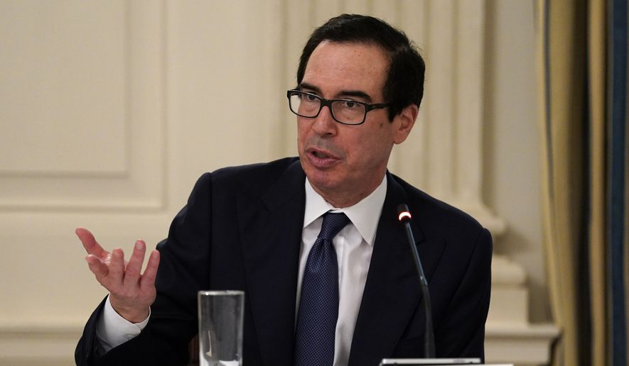 Treasury Secretary Steven Mnuchin speaks during a meeting with restaurant industry executives about the coronavirus response, in the State Dining Room of the White House, Monday, May 18, 2020, in Washington. (AP Photo/Evan Vucci)