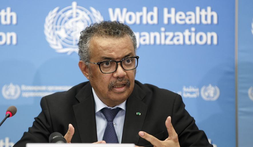 In this Monday, Feb. 24, 2020 file photo, Tedros Adhanom Ghebreyesus, director-general of the World Health Organization (WHO), addresses a press conference about the update on COVID-19 at the World Health Organization headquarters in Geneva, Switzerland. The European Union is calling for an independent evaluation of the World Health Organization's response to the coronavirus pandemic, to review experience gained and lessons learned. (Salvatore Di Nolfi/Keystone via AP, File)