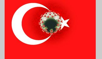 Illustration on Turkey's response to COVID19 by Alexander Hunter/The Washington Times