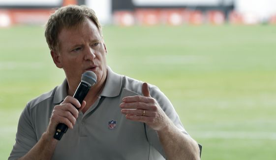 In this Aug. 17, 2017, file photo, NFL Commissioner Roger Goodell answers questions during a season ticket member fan forum before practice at the Cleveland Browns NFL football team's training camp facility in Berea, Ohio. Several NFL teams are reopening their training facilities Tuesday, May 19, 2020, while many are prohibited by government restrictions during the coronavirus pandemic. Commissioner Roger Goodell gave the 32 clubs the go-ahead for limited reopenings as long as state and local municipalities allow them. (AP Photo/Tony Dejak, File)  **FILE**