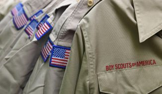 In this Feb. 18, 2020, file photo, Boy Scouts of America uniforms are displayed in the retail store at the headquarters for the French Creek Council of the Boy Scouts of America in Summit Township, Pa.  (Christopher Millette/Erie Times-News via AP, File)  **FILE**