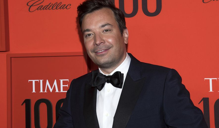 """In this April 23, 2019, file photo, Jimmy Fallon attends the Time 100 Gala in New York. The International Academy of Digital Arts and Sciences announced that Fallon is among the 2020 Webby Award winners in the celebrity and fan category for """"The Tonight Show Starring Jimmy Fallon."""" (Photo by Charles Sykes/Invision/AP, File)"""