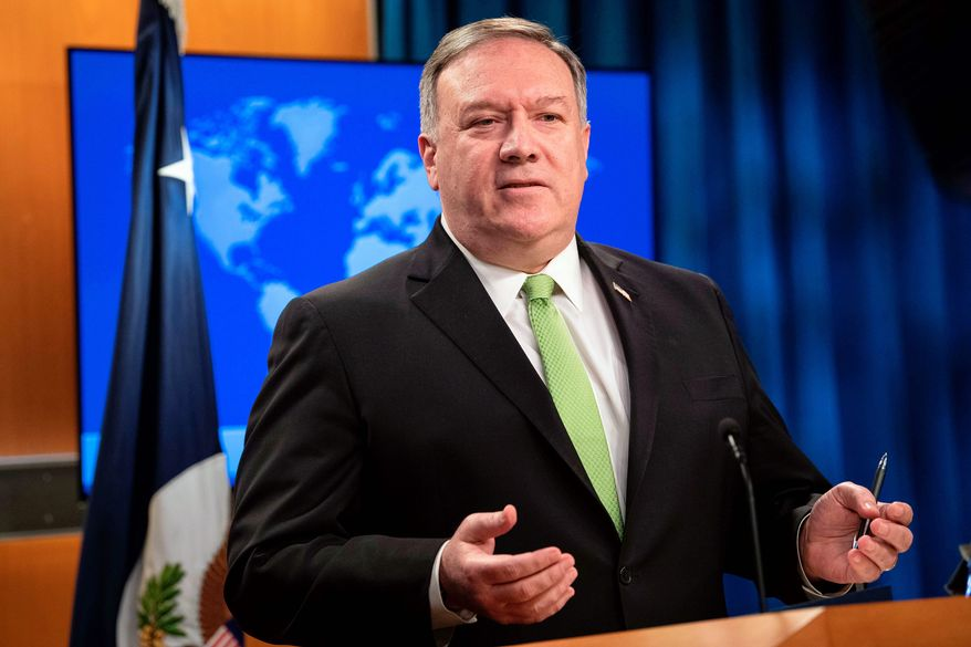 In this file photo, Secretary of State Mike Pompeo speaks during a press briefing at the State Department on Wednesday, May 20, 2020, in Washington. (Nicholas Kamm/Pool Photo via AP) **FILE**
