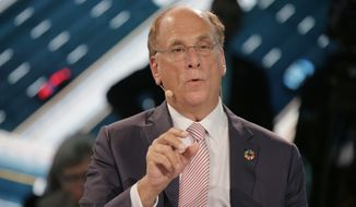Larry Fink, CEO of Blackrock, participates in a panel during the One Planet Summit in New York, Wednesday, Sept. 26, 2018. (AP Photo/Seth Wenig)