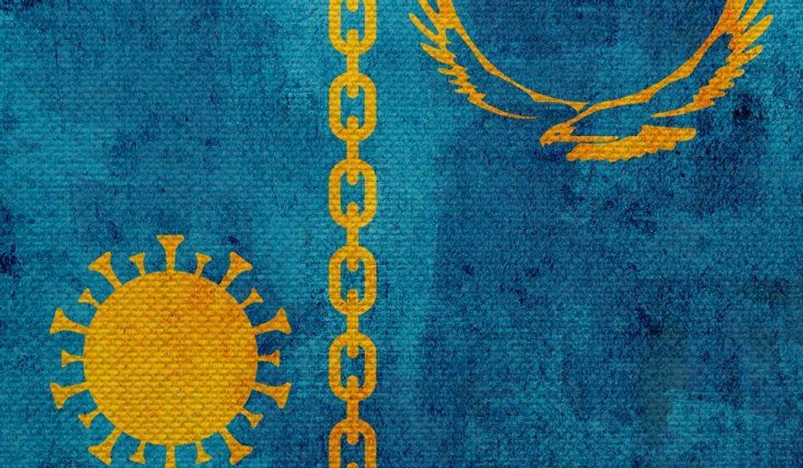 Kazakh Control of Virus Illustration by Greg Groesch/The Washington Times